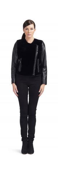 Beth Black Beaver/Leather Jacket