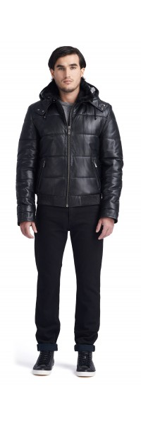 Giorgio Puffer Leather Jacket