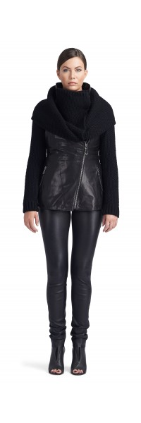 Ivory Black Knitted Wool/Leather Jacket