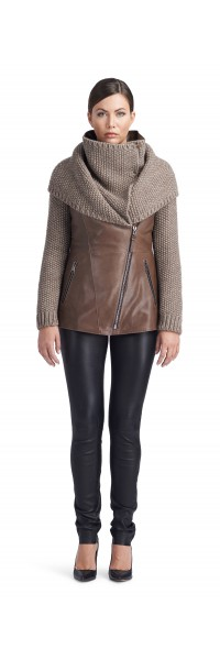 Ivory Taupe Knitted Wool/Leather Jacket