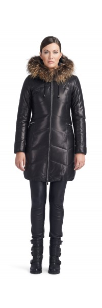 Joanna Black Leather Puffy
