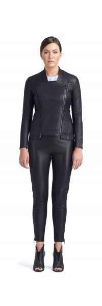 Mandy Black Stretch Leather Jacket