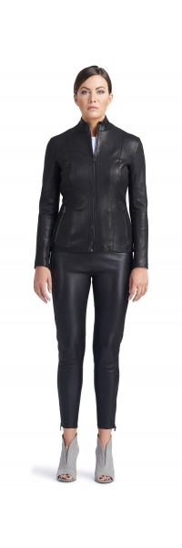 Matty Black Stretch Leather Jacket