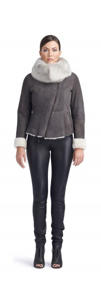 Nadia Charcoal/White Shearling Jacket