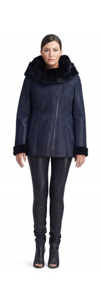 Nadine Navy/Black Shearling Jacket