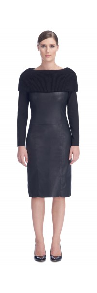 Angelique Black Stretch Leather Dress