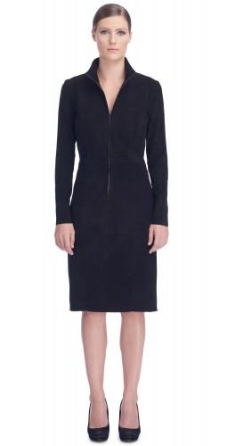 Eliza Black Stretch Suede Dress