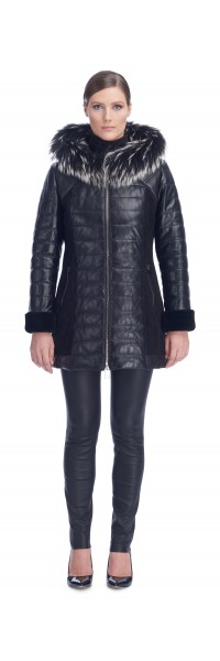 Lana Black Leather Puffy Coat