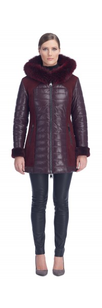 Lana Burgundy Leather Puffy Coat