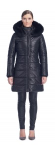 Milly Black Leather Puffy Coat