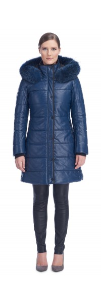 Milly Blue Leather Puffy Coat