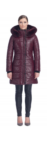 Milly Burgundy Leather Puffy Coat