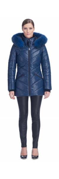 Paris Blue Leather Puffy Jacket