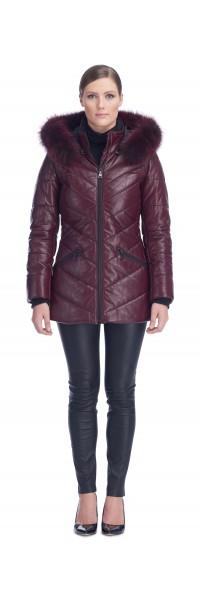 Paris Burgundy Leather Puffy Jacket