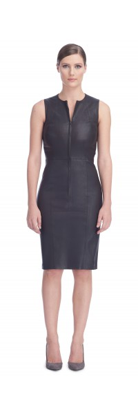 Ria Brown Stretch Leather Dress