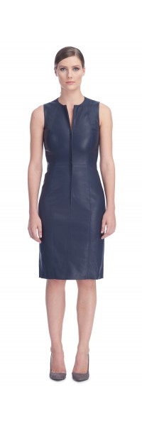 Ria Navy Stretch Lambskin Dress