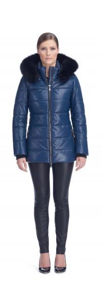 Sandy Blue Leather Puffy Jacket