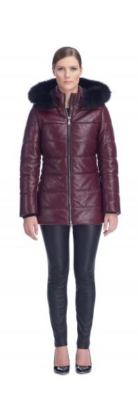 Sandy Burgundy Leather Puffy Jacket