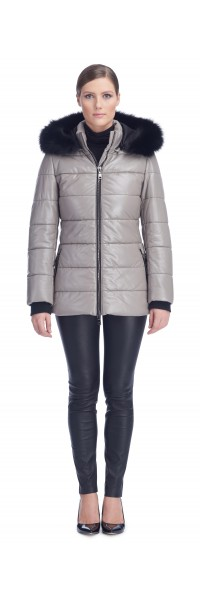 Sandy Cement Leather Puffy Jacket