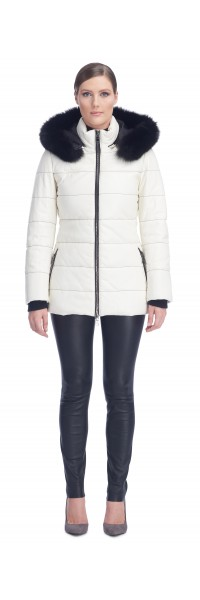 Sandy Vanilla Leather Puffy Jacket
