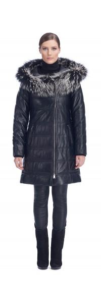 Stephanie Black Leather Puffy Coat