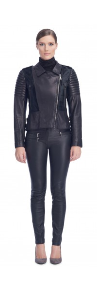 Tori Black Calf/Leather Jacket