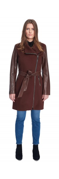 Miranda Nutmeg Wool/Leather Coat