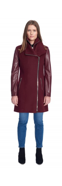 Miranda Burgundy Wool/Leather Coat