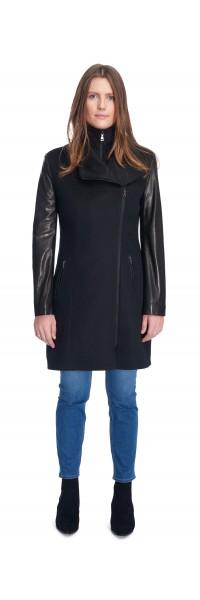 Miranda Black Wool/Leather Coat