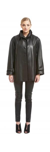 Gia Black Short Stroller Leather Jacket