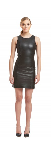 Laura Black Leather Dress