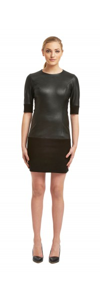 Macy Black Stretch Leather/Suede Dress