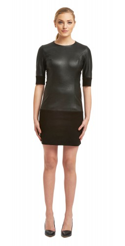 Macy Black Stretch Leather/Suede Dress