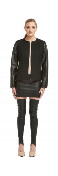 Maya Black Wool/Leather Jacket